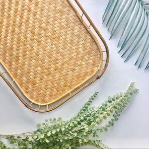 Light RATTAN wicker blonde woven serving tray